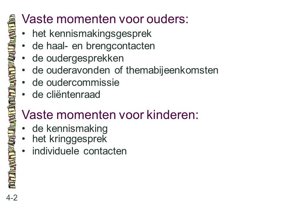 Vaste momenten voor ouders: 4-2 •het kennismakingsgesprek •de haal- en brengcontacten •de oudergesprekken •de ouderavonden of themabijeenkomsten •de o
