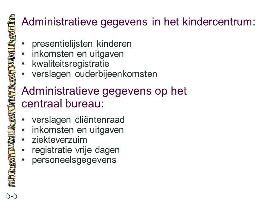 Administratieve gegevens in het kindercentrum: 5-5 •presentielijsten kinderen •inkomsten en uitgaven •kwaliteitsregistratie •verslagen ouderbijeenkoms