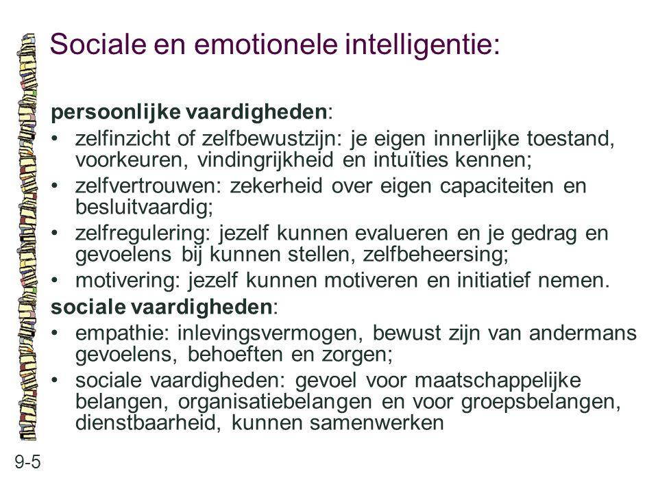 Sociale en emotionele intelligentie: 9-5 persoonlijke vaardigheden: •zelfinzicht of zelfbewustzijn: je eigen innerlijke toestand, voorkeuren, vindingr