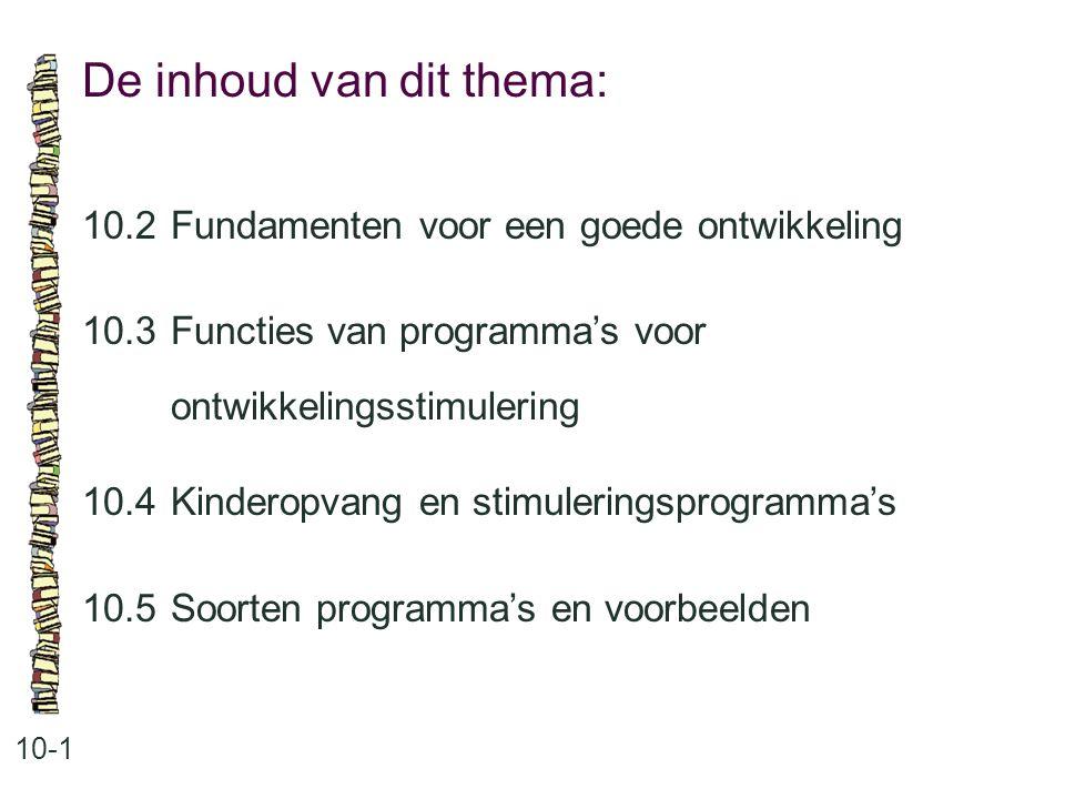 De inhoud van dit thema: 10-1 10.2 Fundamenten voor een goede ontwikkeling 10.3Functies van programma's voor ontwikkelingsstimulering 10.4 Kinderopvan