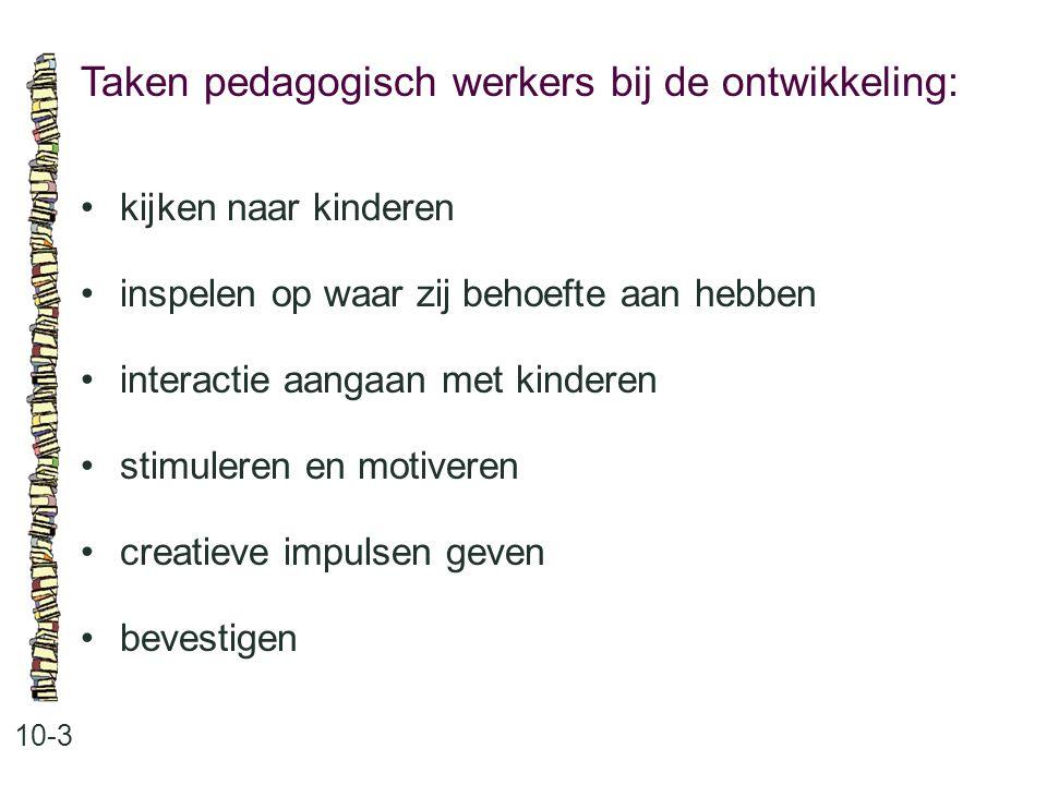 Taken pedagogisch werkers bij de ontwikkeling: 10-3 •kijken naar kinderen •inspelen op waar zij behoefte aan hebben •interactie aangaan met kinderen •