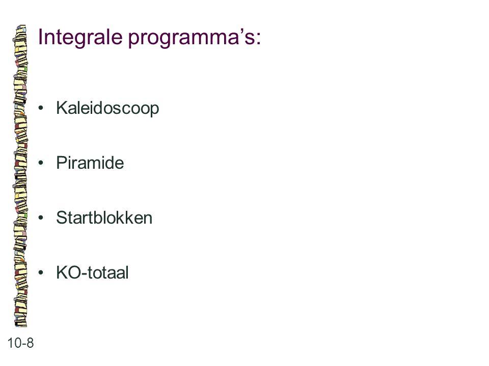 Integrale programma's: 10-8 •Kaleidoscoop •Piramide •Startblokken •KO-totaal