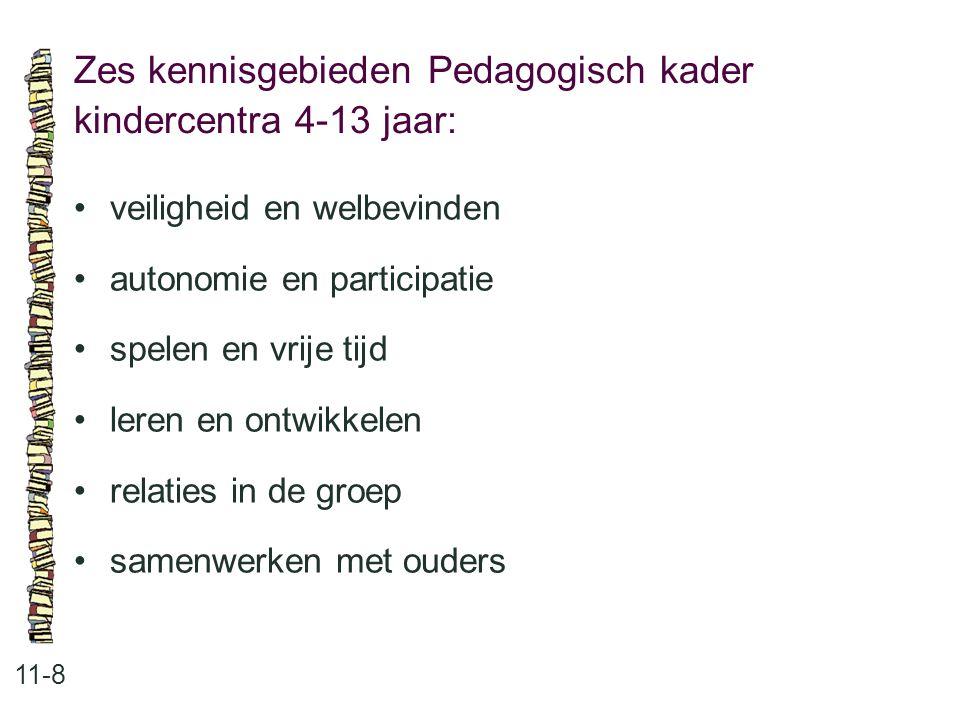 Zes kennisgebieden Pedagogisch kader kindercentra 4-13 jaar: 11-8 •veiligheid en welbevinden •autonomie en participatie •spelen en vrije tijd •leren e