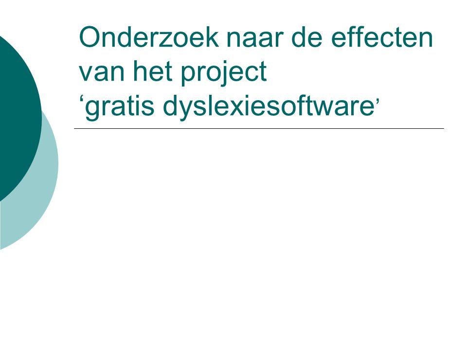 Onderzoek naar de effecten van het project 'gratis dyslexiesoftware '