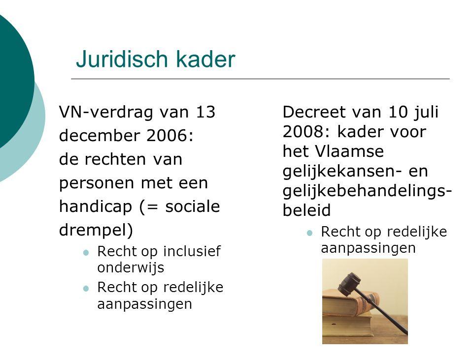 Juridisch kader VN-verdrag van 13 december 2006: de rechten van personen met een handicap (= sociale drempel)  Recht op inclusief onderwijs  Recht op redelijke aanpassingen Decreet van 10 juli 2008: kader voor het Vlaamse gelijkekansen- en gelijkebehandelings- beleid  Recht op redelijke aanpassingen