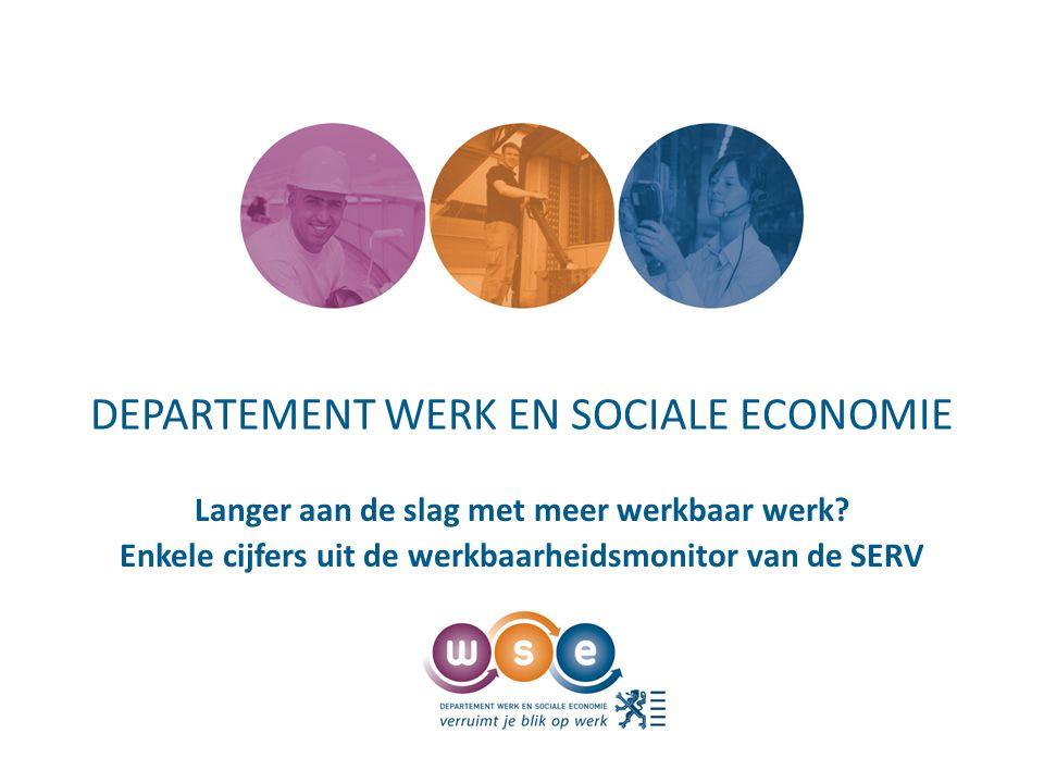 DEPARTEMENT WERK EN SOCIALE ECONOMIE Langer aan de slag met meer werkbaar werk.