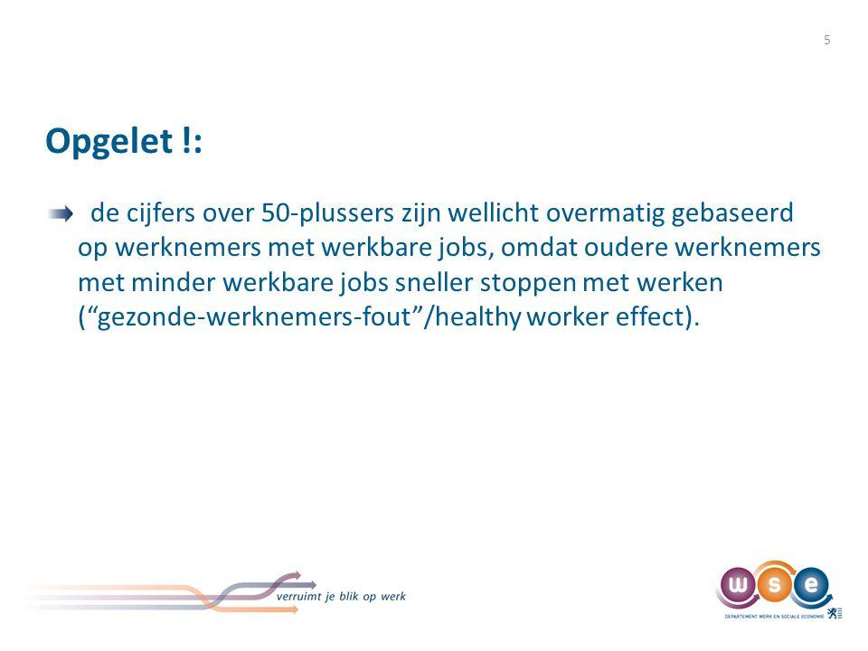 Opgelet !: 5 de cijfers over 50-plussers zijn wellicht overmatig gebaseerd op werknemers met werkbare jobs, omdat oudere werknemers met minder werkbare jobs sneller stoppen met werken ( gezonde-werknemers-fout /healthy worker effect).