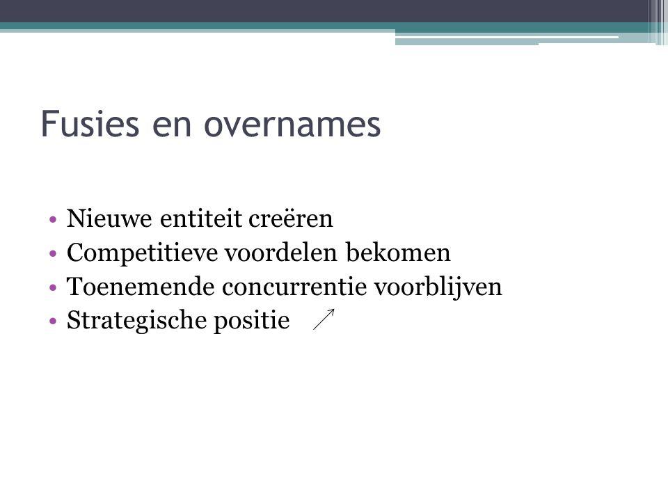 Fusies en overnames •Nieuwe entiteit creëren •Competitieve voordelen bekomen •Toenemende concurrentie voorblijven •Strategische positie