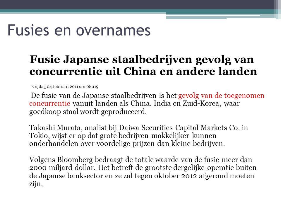 Fusie Japanse staalbedrijven gevolg van concurrentie uit China en andere landen vrijdag 04 februari 2011 om 08u19 De fusie van de Japanse staalbedrijv