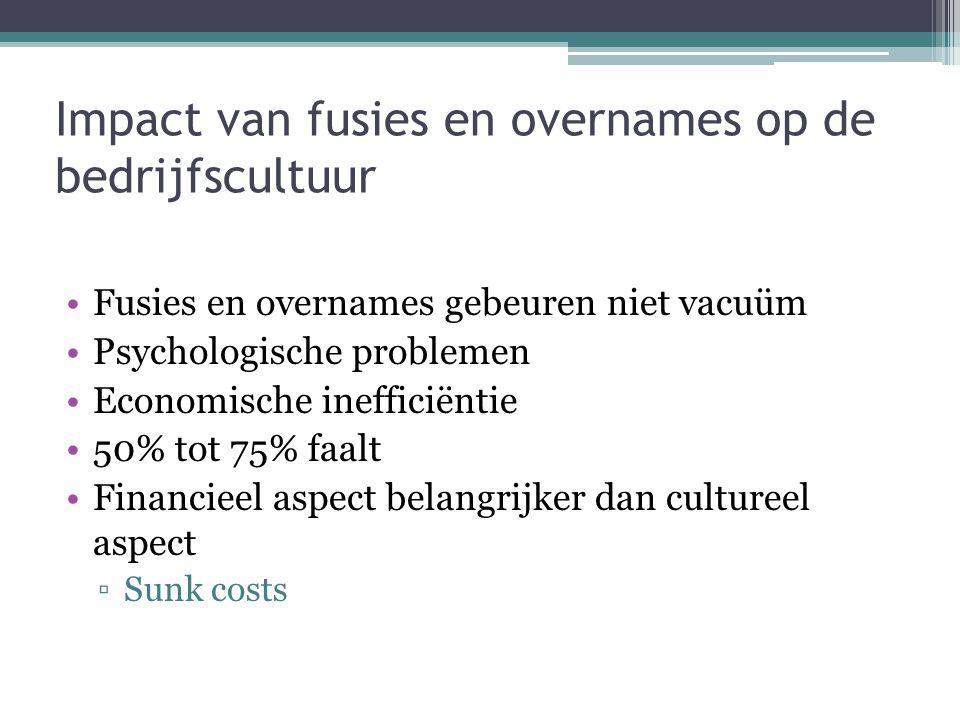 Impact van fusies en overnames op de bedrijfscultuur •Fusies en overnames gebeuren niet vacuüm •Psychologische problemen •Economische inefficiëntie •5