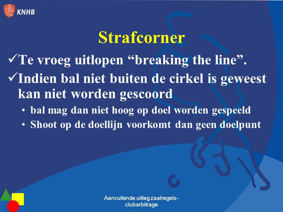 """Strafcorner  Te vroeg uitlopen """"breaking the line"""".  Indien bal niet buiten de cirkel is geweest kan niet worden gescoord •bal mag dan niet hoog op"""
