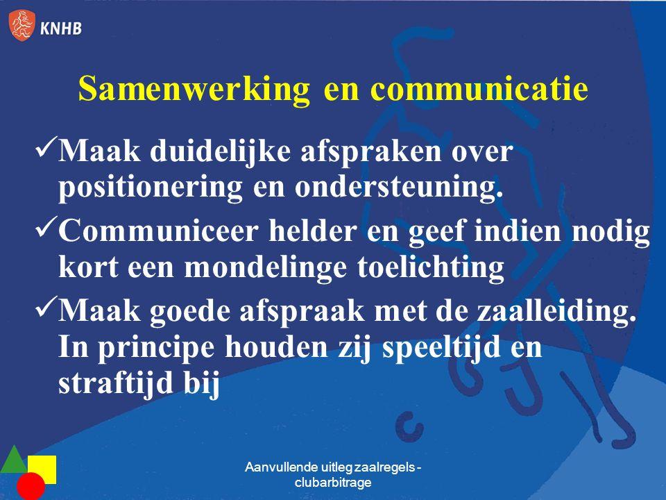 Samenwerking en communicatie  Maak duidelijke afspraken over positionering en ondersteuning.  Communiceer helder en geef indien nodig kort een monde
