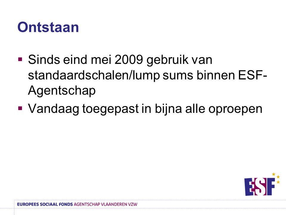 Ontstaan  Sinds eind mei 2009 gebruik van standaardschalen/lump sums binnen ESF- Agentschap  Vandaag toegepast in bijna alle oproepen