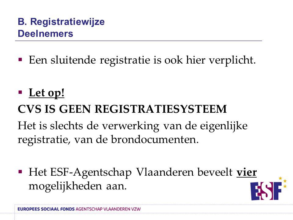 B. Registratiewijze Deelnemers  Een sluitende registratie is ook hier verplicht.  Let op! CVS IS GEEN REGISTRATIESYSTEEM Het is slechts de verwerkin