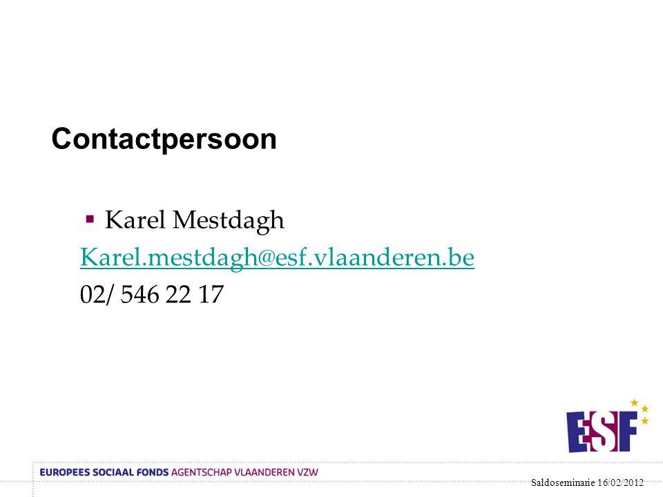 Contactpersoon  Karel Mestdagh Karel.mestdagh@esf.vlaanderen.be 02/ 546 22 17 Saldoseminarie 16/02/2012