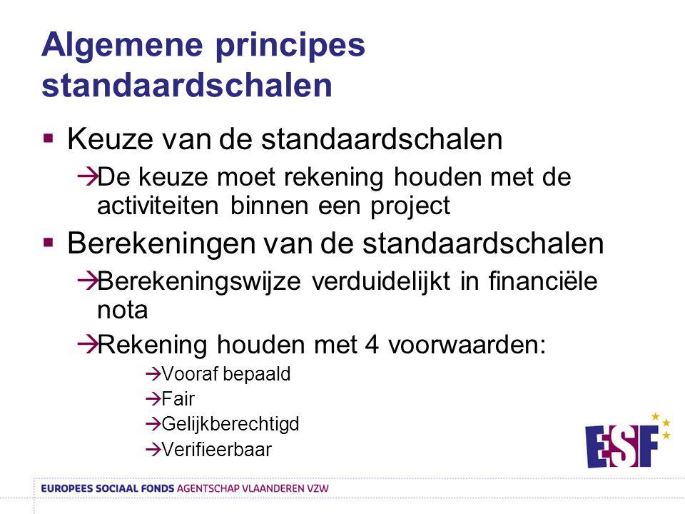 Algemene principes standaardschalen  Keuze van de standaardschalen  De keuze moet rekening houden met de activiteiten binnen een project  Berekenin