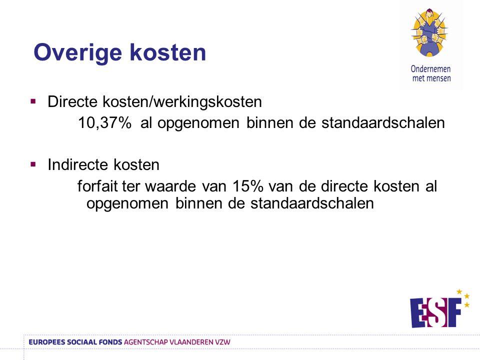  Directe kosten/werkingskosten 10,37% al opgenomen binnen de standaardschalen  Indirecte kosten forfait ter waarde van 15% van de directe kosten al
