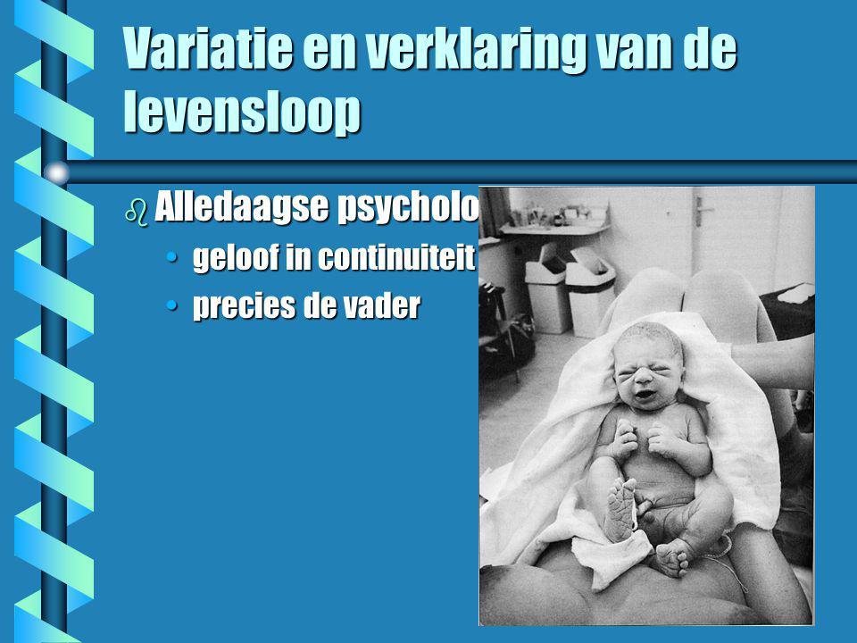 Variatie en verklaring van de levensloop b Alledaagse psychologie •geloof in continuiteit •precies de vader