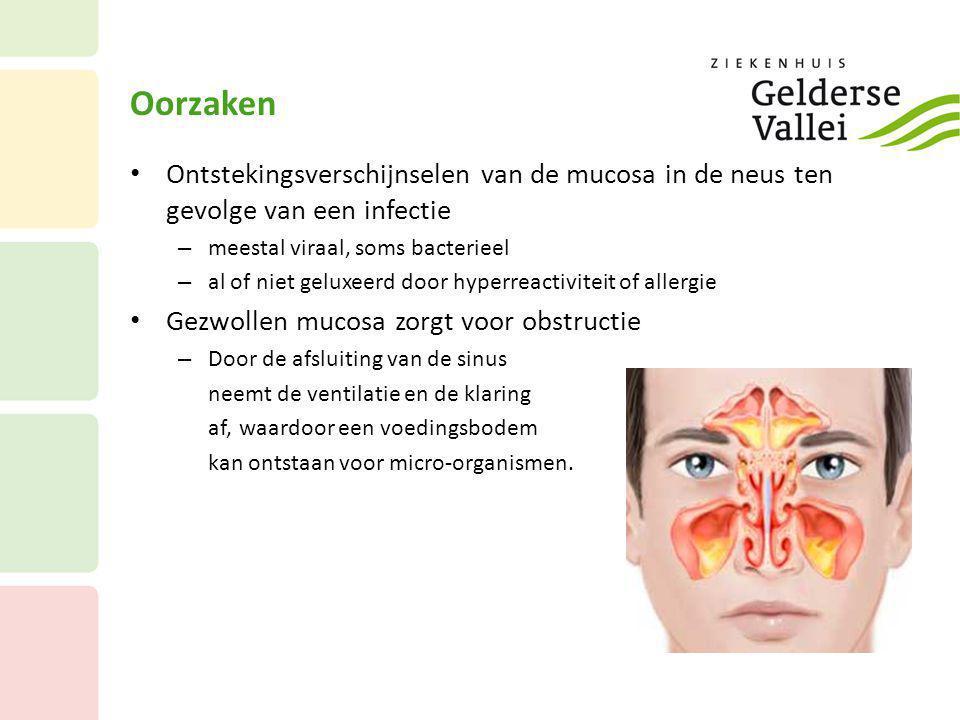 Oorzaken • Ontstekingsverschijnselen van de mucosa in de neus ten gevolge van een infectie – meestal viraal, soms bacterieel – al of niet geluxeerd do
