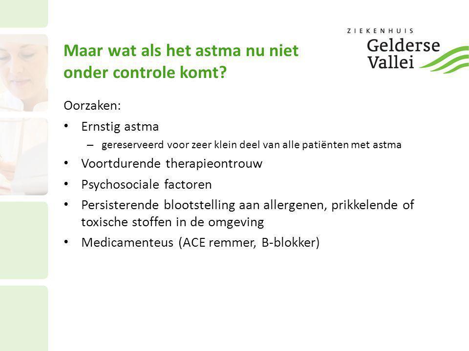 Maar wat als het astma nu niet onder controle komt? Oorzaken: • Ernstig astma – gereserveerd voor zeer klein deel van alle patiënten met astma • Voort