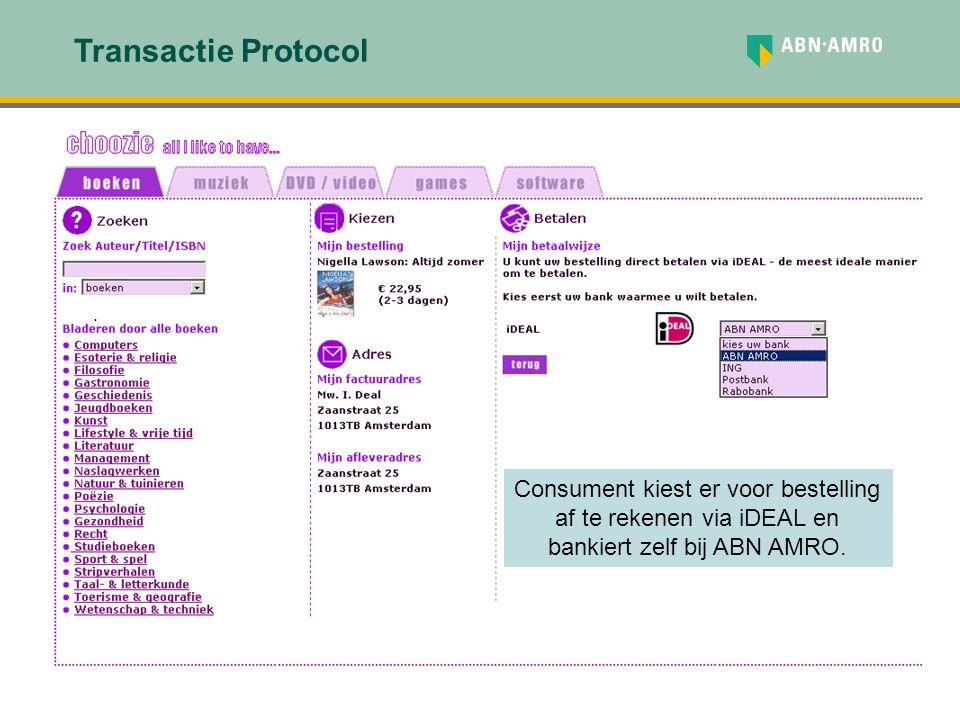 . Transactie Protocol Consument kiest er voor bestelling af te rekenen via iDEAL en bankiert zelf bij ABN AMRO.