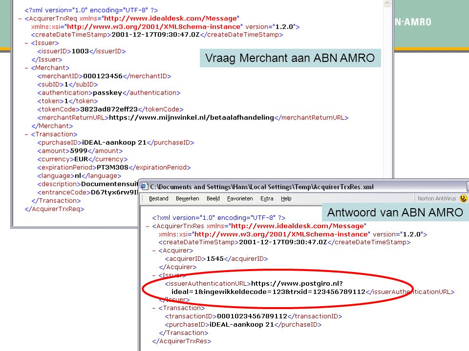 . Stap 2 : Transactie Protocol Vraag Merchant aan ABN AMRO Antwoord van ABN AMRO