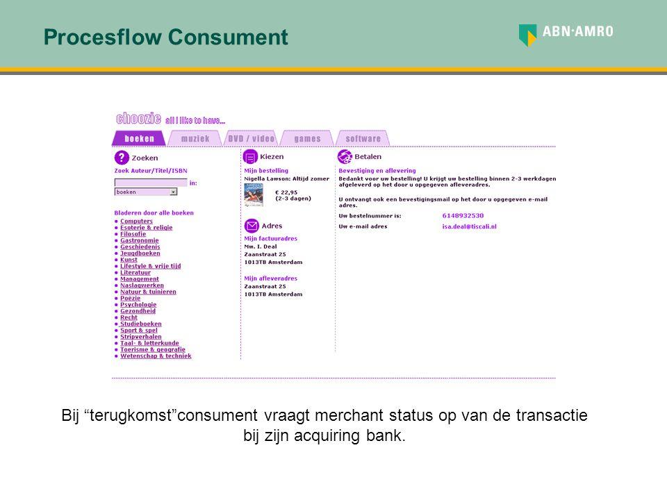 """Bij """"terugkomst""""consument vraagt merchant status op van de transactie bij zijn acquiring bank."""