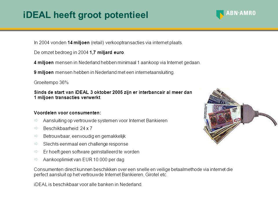 iDEAL biedt voordelen voor merchants  iDEAL is geschikt voor zakelijke partijen die via Internet goederen of diensten verkopen aan consumenten in Nederland.