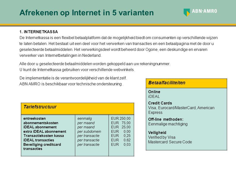 Afrekenen op Internet in 5 varianten 1. INTERNETKASSA De Internetkassa is een flexibel betaalplatform dat de mogelijkheid biedt om consumenten op vers