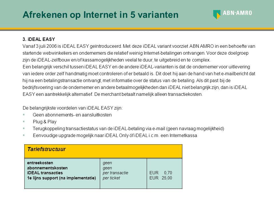 Afrekenen op Internet in 5 varianten 3. iDEAL EASY Vanaf 3 juli 2006 is iDEAL EASY geïntroduceerd. Met deze iDEAL variant voorziet ABN AMRO in een beh