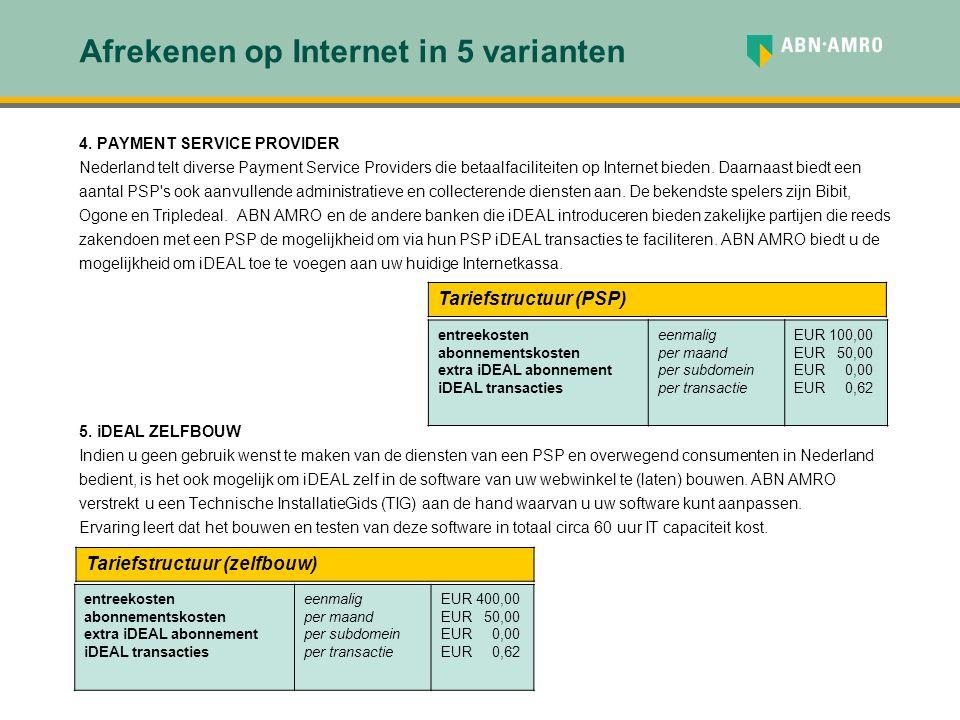 Afrekenen op Internet in 5 varianten 4. PAYMENT SERVICE PROVIDER Nederland telt diverse Payment Service Providers die betaalfaciliteiten op Internet b