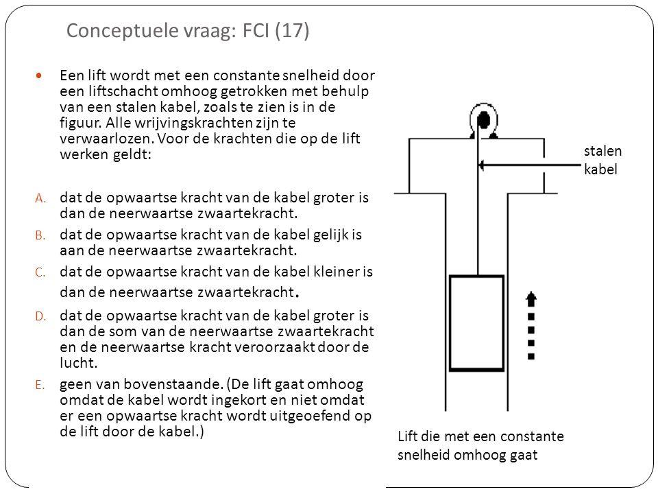 Conceptuele vraag: FCI (17)  Een lift wordt met een constante snelheid door een liftschacht omhoog getrokken met behulp van een stalen kabel, zoals te zien is in de figuur.