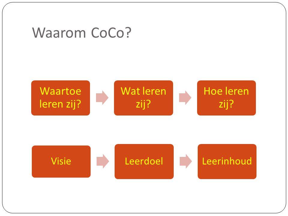 Waarom CoCo? Visie LeerdoelLeerinhoud Waartoe leren zij? Wat leren zij? Hoe leren zij?