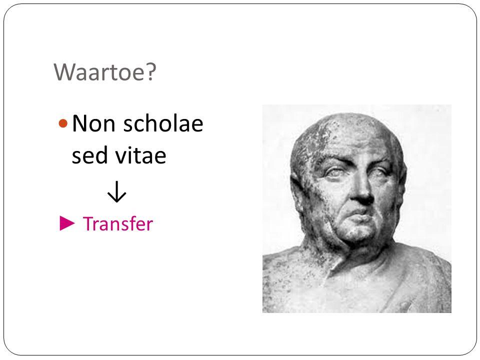 Waartoe?  Non scholae sed vitae ↓ ► Transfer