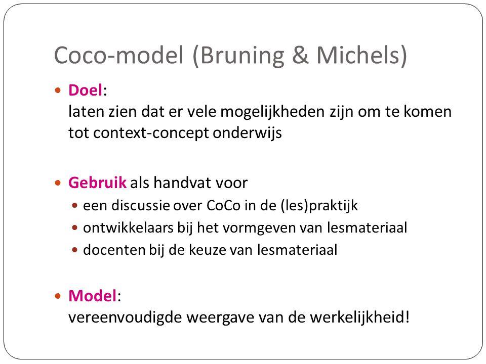 Coco-model (Bruning & Michels)  Doel: laten zien dat er vele mogelijkheden zijn om te komen tot context-concept onderwijs  Gebruik als handvat voor