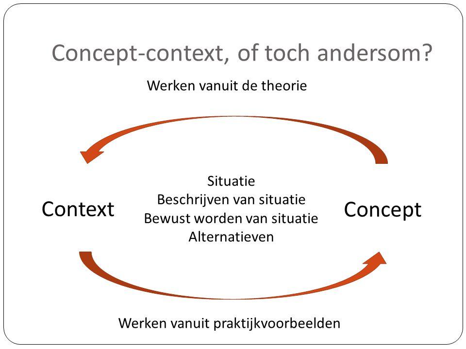 Concept-context, of toch andersom? Context Concept Werken vanuit de theorie Werken vanuit praktijkvoorbeelden Situatie Beschrijven van situatie Bewust