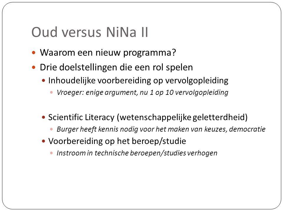 Oud versus NiNa II  Waarom een nieuw programma?  Drie doelstellingen die een rol spelen  Inhoudelijke voorbereiding op vervolgopleiding  Vroeger: