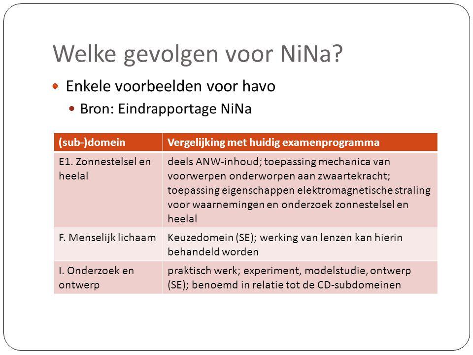 Welke gevolgen voor NiNa?  Enkele voorbeelden voor havo  Bron: Eindrapportage NiNa (sub-)domeinVergelijking met huidig examenprogramma E1. Zonnestel