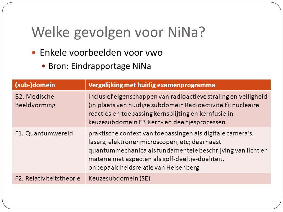 Welke gevolgen voor NiNa?  Enkele voorbeelden voor vwo  Bron: Eindrapportage NiNa (sub-)domeinVergelijking met huidig examenprogramma B2. Medische B