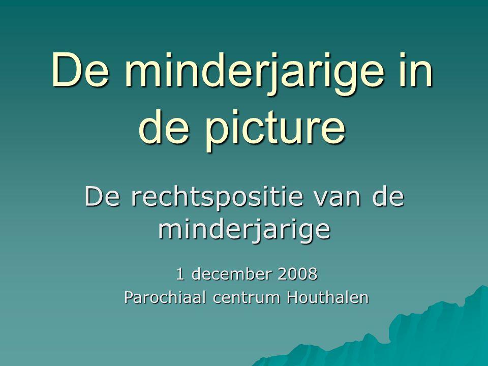De minderjarige in de picture De rechtspositie van de minderjarige 1 december 2008 Parochiaal centrum Houthalen