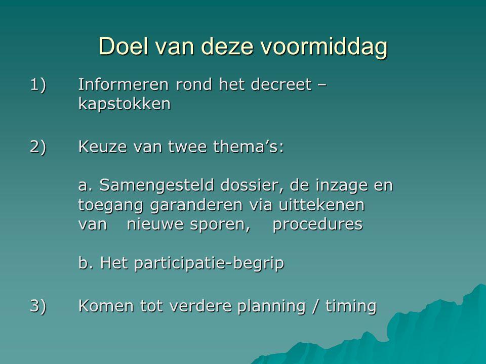 Doel van deze voormiddag 1) Informeren rond het decreet – kapstokken 2)Keuze van twee thema's: a.