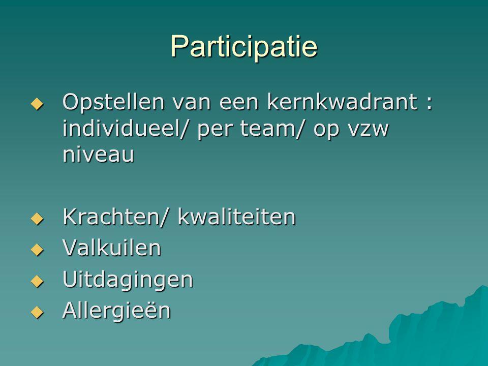 Participatie  Opstellen van een kernkwadrant : individueel/ per team/ op vzw niveau  Krachten/ kwaliteiten  Valkuilen  Uitdagingen  Allergieën