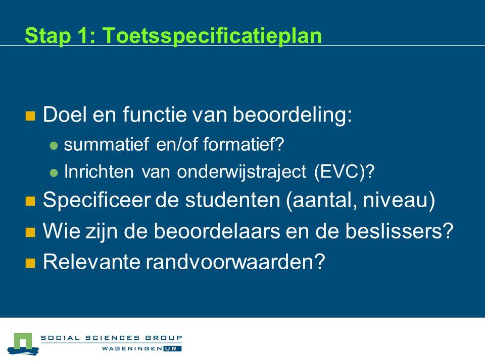 Stap 1: Toetsspecificatieplan  Doel en functie van beoordeling:  summatief en/of formatief.