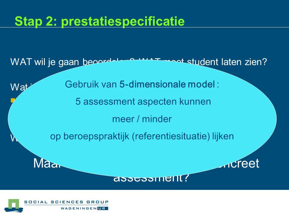 Stap 2: prestatiespecificatie WAT wil je gaan beoordelen.