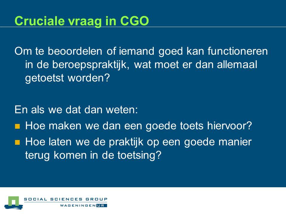 Cruciale vraag in CGO Om te beoordelen of iemand goed kan functioneren in de beroepspraktijk, wat moet er dan allemaal getoetst worden.