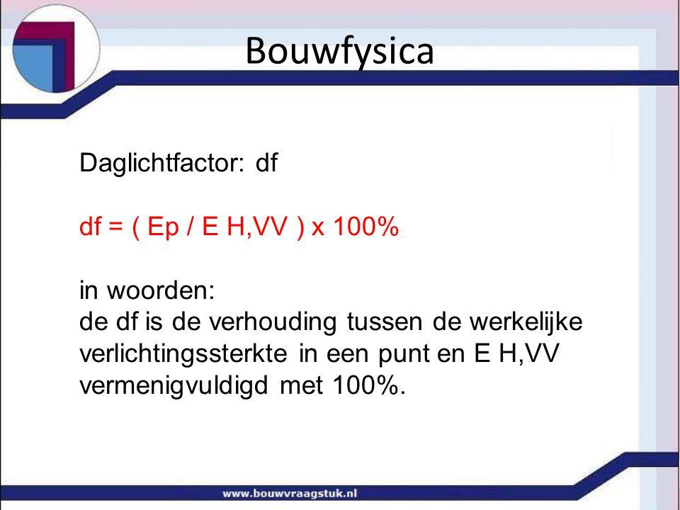 Bouwfysica Daglichtfactor: df df = ( Ep / E H,VV ) x 100% in woorden: de df is de verhouding tussen de werkelijke verlichtingssterkte in een punt en E H,VV vermenigvuldigd met 100%.