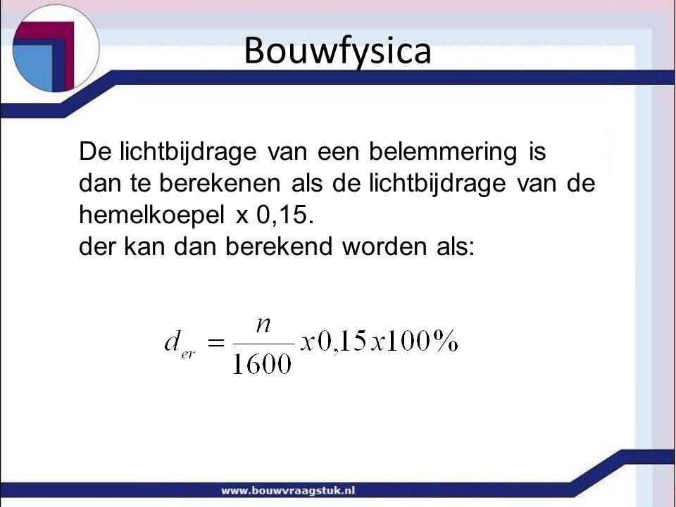 Bouwfysica De lichtbijdrage van een belemmering is dan te berekenen als de lichtbijdrage van de hemelkoepel x 0,15. der kan dan berekend worden als: