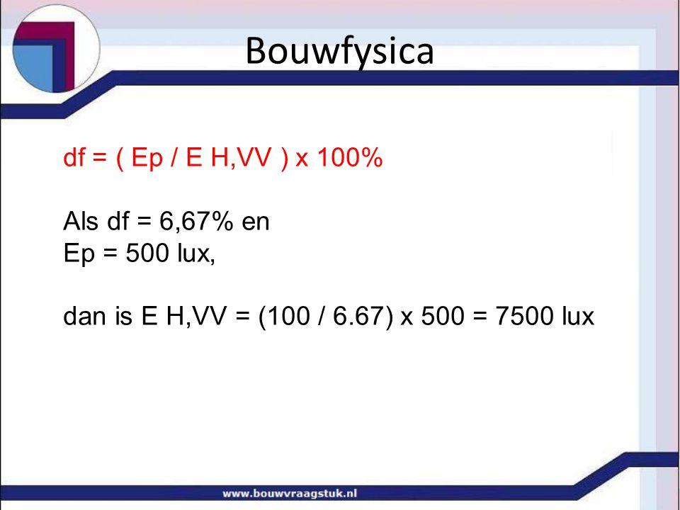Bouwfysica df = ( Ep / E H,VV ) x 100% Als df = 6,67% en Ep = 500 lux, dan is E H,VV = (100 / 6.67) x 500 = 7500 lux