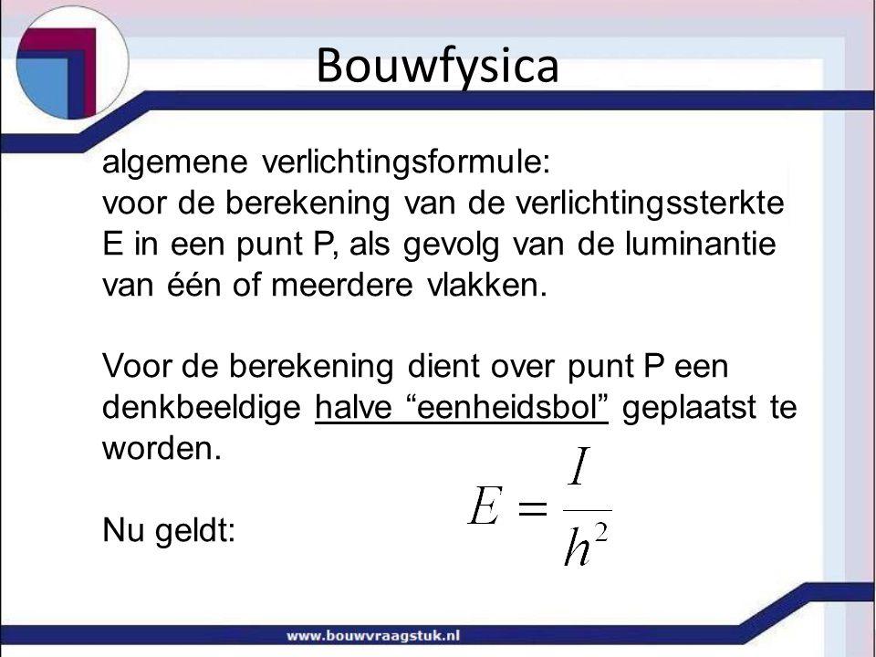 Bouwfysica algemene verlichtingsformule: voor de berekening van de verlichtingssterkte E in een punt P, als gevolg van de luminantie van één of meerde