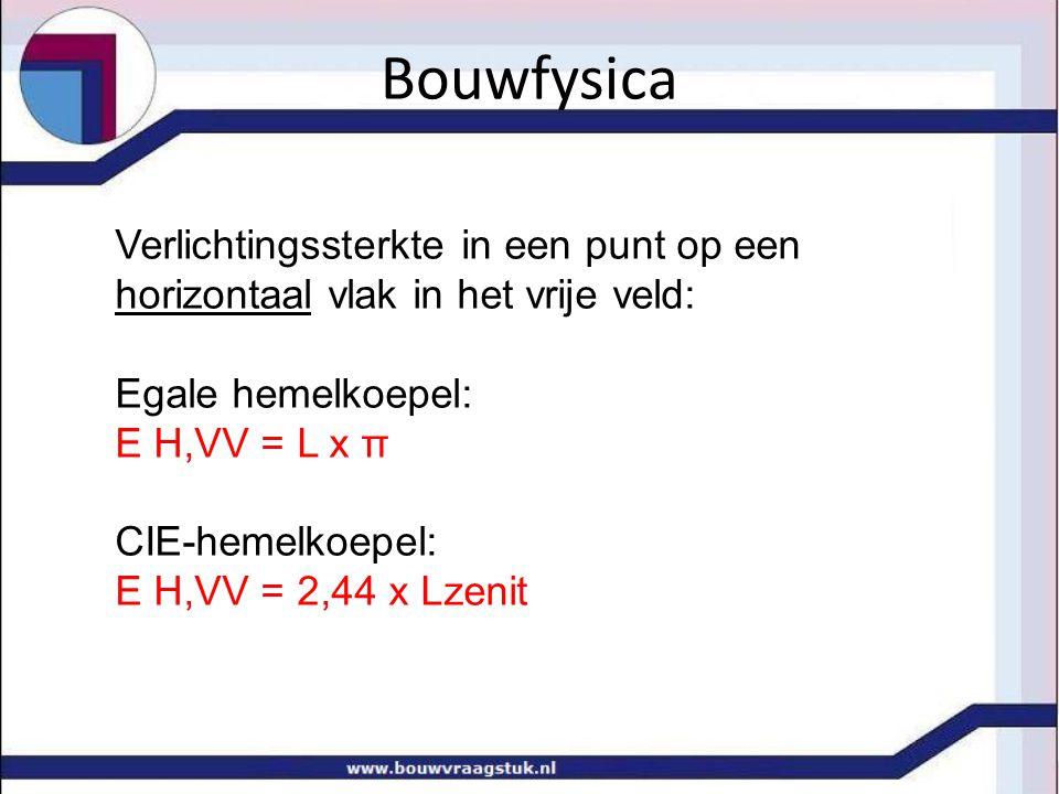 Bouwfysica Verlichtingssterkte in een punt op een horizontaal vlak in het vrije veld: Egale hemelkoepel: E H,VV = L x π CIE-hemelkoepel: E H,VV = 2,44